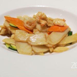 Gnocchi di riso saltati con gamberi e verdure
