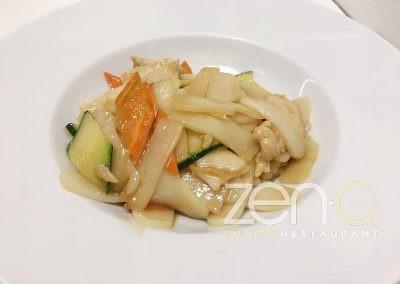 Gnocchi di riso saltati con pollo e verdure