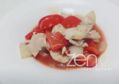 Pollo con salsa chili