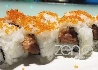 """Uramaki spicy tuna <br> <span class=""""dish-desc"""">(tartar di tonno, spicy, maionese, tobico esterno)</span>"""